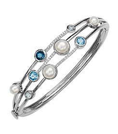 Cultured Freshwater Pearl And Blue Topaz Bangle In Sterling Silver