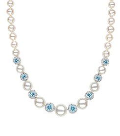 Cultured Freshwater Pearl Necklace With Blue Topaz In Sterling Silver