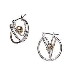 Studio Works® Two-Tone Click-It Cutout Hoop Earrings With Ball