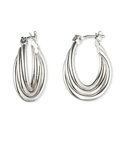 Nine West® Small Silvertone Twisted Hoop Earrings