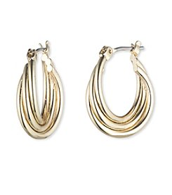Nine West® Small Goldtone Twisted Hoop Earrings