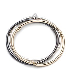 Nine West® Set Of Three Tri Tone Bangle Bracelets