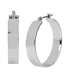 Kenneth Cole® Silvertone Wide Hoop Earrings