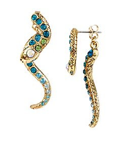 Betsey Johnson® Goldtone Pave Simulated Crystal Snake Front And Back Linear Earrings
