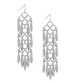 Jessica Simpson Silvertone Shaky Linear Earrings