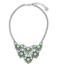 Jessica Simpson Silvertone Drama Frontal Necklace