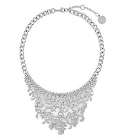 Jessica Simpson Silvertone Open Lace Drama Frontal Necklace