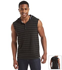 DKNY JEANS® Men's Sleeveless Plaited Stripe Hoodie
