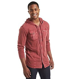 DKNY JEANS® Men's Long Sleeve Hooded Slub Knit Button Down