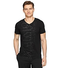 Calvin Klein Men's Short Sleeve V-Neck Vertical Graphic Tee
