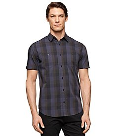 Calvin Klein Men's Short Sleeve Multi Check Button Down