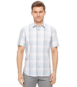 Calvin Klein Men's Short Sleeve Medium Plaid Shirt
