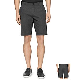 Calvin Klein Men's Mini Check Flat Front Shorts