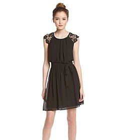 A. Byer Crochet Belted Dress