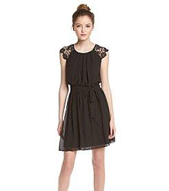 A. Byer Crochet Belted Dress