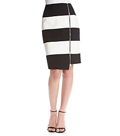 Nine West® Exposed Zipper Striped Skirt