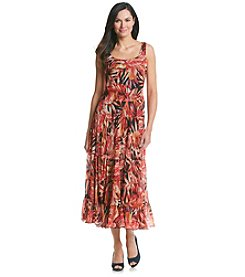 Kasper® Chiffon Palm Tiered Dress