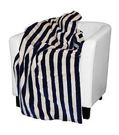 Denali® Lapis & Cream Stripe Reversible Blanket Throw