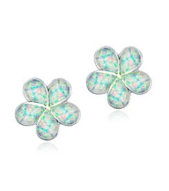 Designs by FMC Sterling Silver-plated Created Opal Flower Earrings