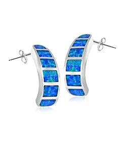 Designs by FMC Sterling Silver-plated Created Blue Opal J Hoop Earrings