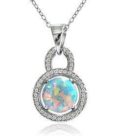 Designs by FMC Sterling Silver-plated Created Opal Halo Pendant Necklace with Pave Cubic Zirconia