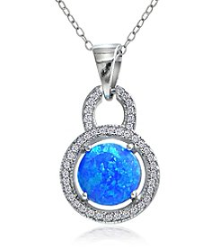 Designs by FMC Sterling Silver-plated Created Blue Opal Halo Pendant Necklace with Pave Cubic Zirconia
