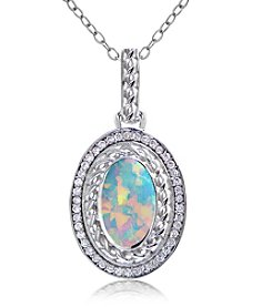 Designs by FMC Sterling Silver Plated Oval Created Opal Pendant Necklace with Pave Cubic Zirconia