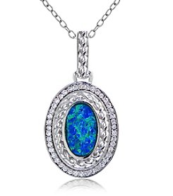 Designs by FMC Sterling Silver-plated Oval Created Blue Opal Pendant Necklace with Pave Cubic Zirconia
