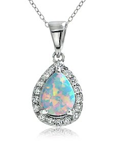 Designs by FMC Sterling Silver-plated Teardrop Created Opal Pendant Necklace with Pave Cubic Zirconia