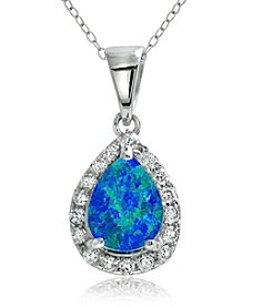 Designs by FMC Sterling Silver-plated Teardrop Created Blue Opal Pendant Necklace with Pave Cubic Zirconia
