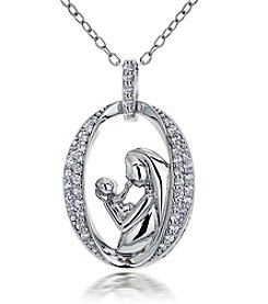 Designs by FMC Sterling Silver Mother and Child Pendant Necklace with Pave Cubic Zirconia