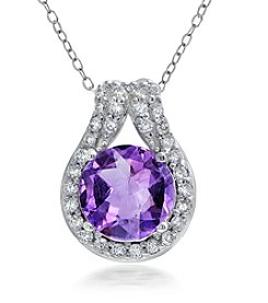 Designs by FMC Sterling Silver-plated Genuine Amethyst Slide Pendant Necklace with Pave Cubic Zirconia