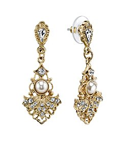 Downton Abbey® Goldtone Crystal Belle Epoch Fan with Simulated Pearl Center Drop Earrings