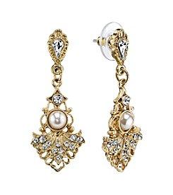Downton Abbey® Goldtone Crystal Belle Epoch Fan with Simulated Pearl Center Drop Earrings