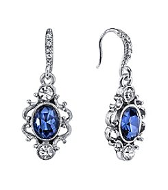 Downton Abbey® Silvertone Blue Crystal Oval Drop Earrings