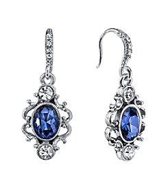 Downton Abbey® Silvertone Blue Crystal Oval Drop Earrings
