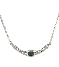 Downton Abbey® Silvertone Blue Crystal Petite Edwardian Collar Necklace