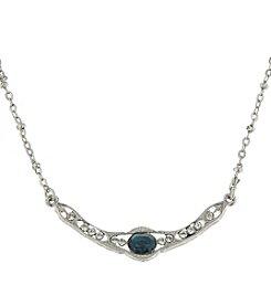 Downton Abbey® Silvertone Blue Crystal Petite Edwardian Collar Necklace