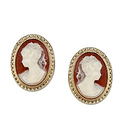 Downton Abbey® Goldtone Simulated Cameo Stud Earrings