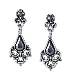 Downton Abbey® Antique Silvertone and Hematite Color Earrings
