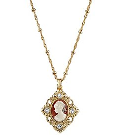 Downton Abbey® Goldtone Cameo with Crystal Accent Pendant Necklace