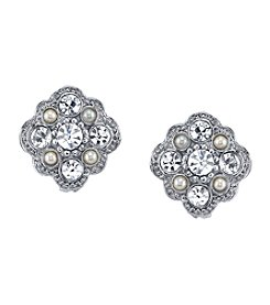 Downton Abbey® Silvertone Crystal and Simulated Pearl Stud Earrings