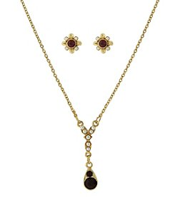 Downton Abbey® Goldtone Red Crystal Earrings Simulated Pearl Necklace Set