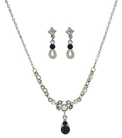 Downton Abbey® Silvertone Clear and Blue Crystal Earrings and Necklace Set