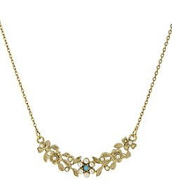 Downton Abbey® Goldtone Simulated Pearl and Imitation Turquoise Necklace