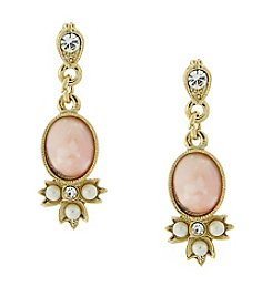 Downton Abbey® Goldtone Peach Color, Simulated Pearl and Crystal Drop Earrings