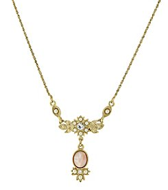 Downton Abbey® Goldtone Peach Color, Simulated Pearl and Crystal Necklace