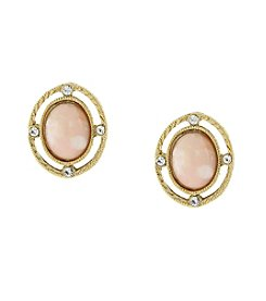 Downton Abbey® Goldtone Peach Color Stone and Crystal Oval Button Earrings