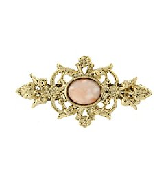 Downton Abbey® Goldtone and Peach Color Stone Pin