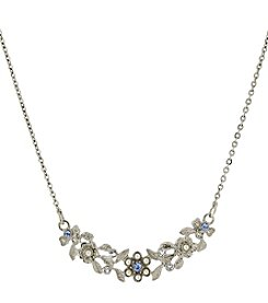 Downton Abbey® Silvertone Simulated Pearl and Light Blue Crystal Collar Necklace